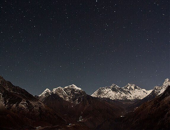 Night view of himalayan range